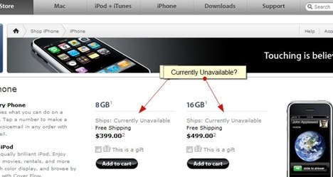 Apple iPhone Currently Unavailable At Apple Store US