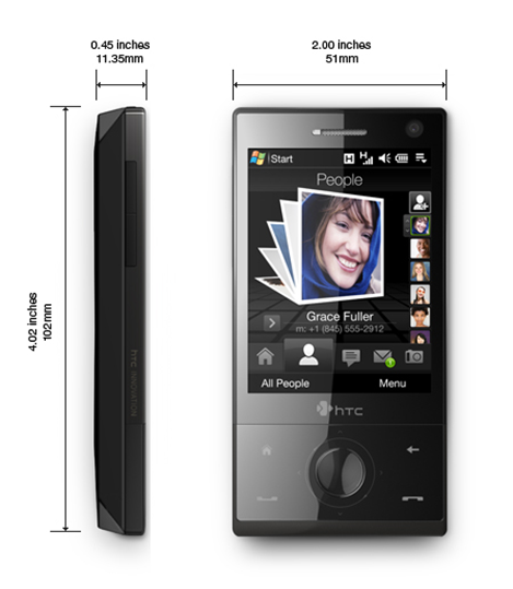 HTC Touch Diamond Size