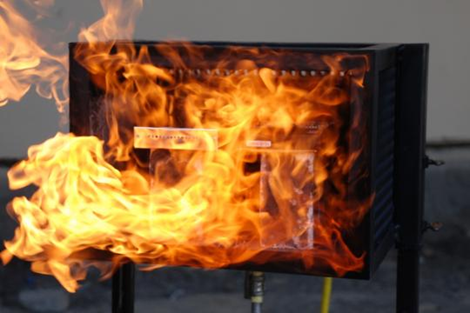 ioSafe isSafe Hard Drive on fire