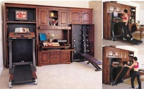 Hidden exercise equipment in fancy wooden furniture