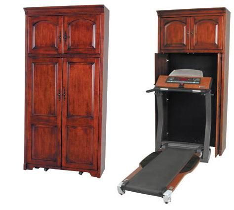 Hidden Exercise Equipment In Fancy Wooden Furniture