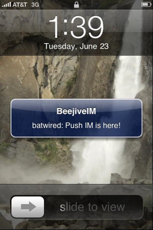 BeejiveIM iphone IM Push