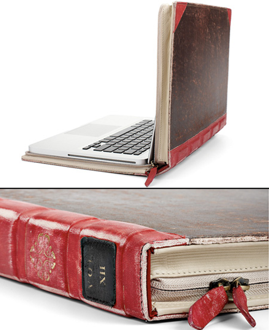 Book Cover Case : Macbook case looks like a leather bound book gadgetking