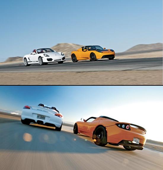Tesla Roadster vs Porsche Boxter Spyder
