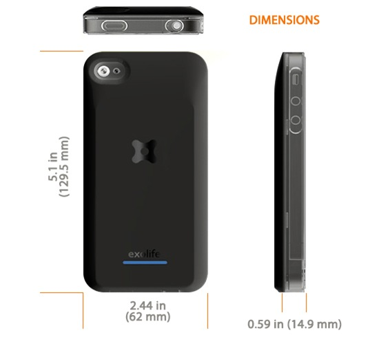 iPhone 4 Exolife Dimensions