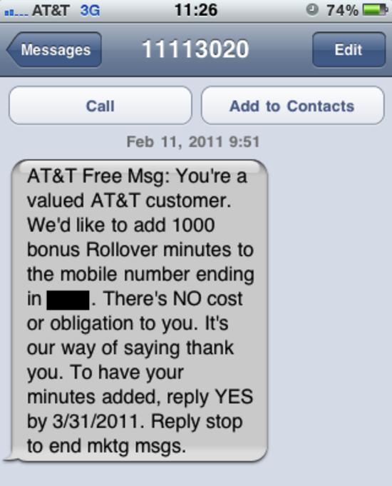 AT&T 1000 Free Bonus Minutes
