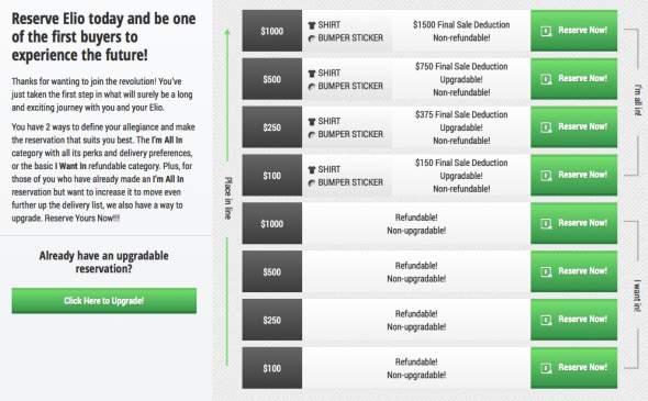 Elio Motors Deposit Page