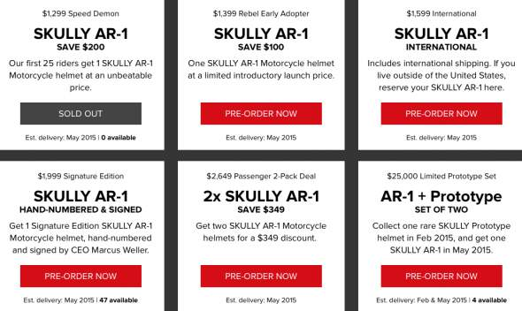 Skully AR-1 Motorcycle Helmet Pricing