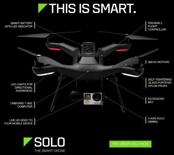 3DR Solo Quadcopter Features