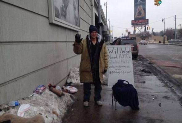 Honest Abe Homeless Man Takes Credit Cards