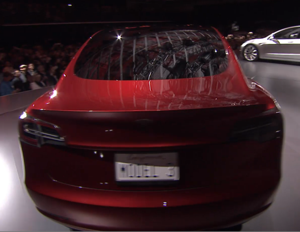 Red Tesla Model 3 Rear End