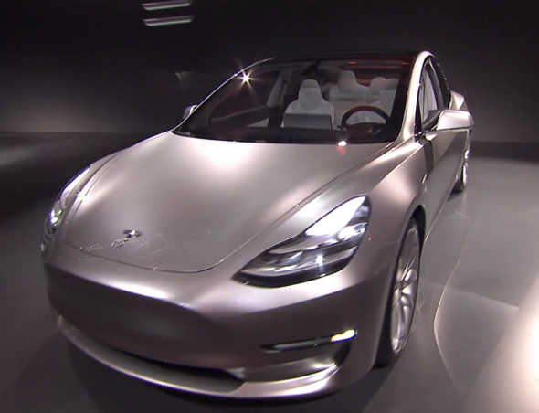 Silver Tesla Model S Front