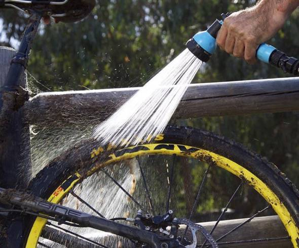RinseKit Pressurized Portable Shower Sprayer Bike Wash
