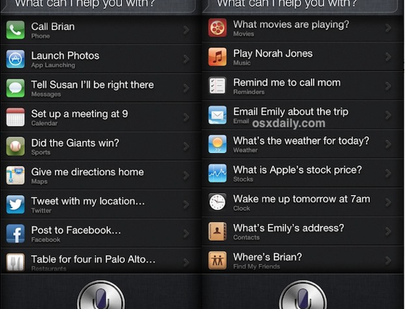 Full list of Siri Commands