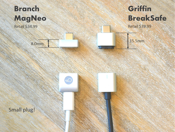 Branch MagNeo MagSafe USB-C MagSafe Connector vs Griffin BreakSafe