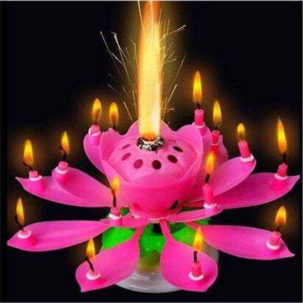 Blooming Lotus Musical Flower Candle Pink