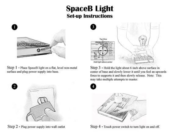 SpaceB Levitating Light Bulb Lamp Instructions