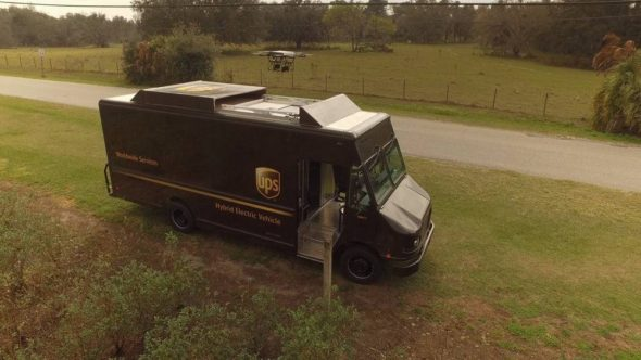 UPS Truck Drone Package Delivery System 1