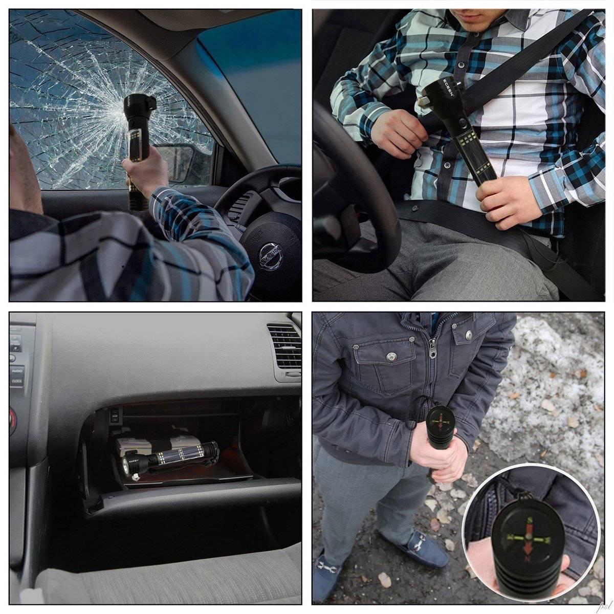 ECEEN Multi-function flashlight tool window breaker seatbelt cutter