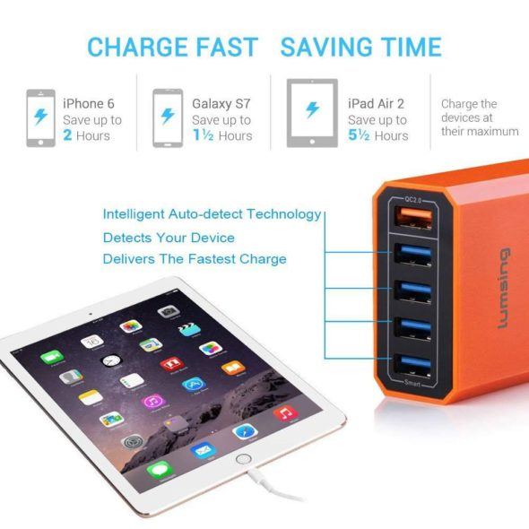 Lumsing Quick Charger Smart USB Charger 5-Port 40-watt