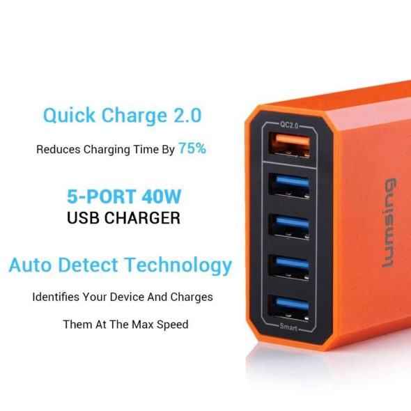 Lumsing Quick Charger Smart USB Charger 5-Port QC2.0