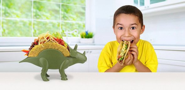 TriceraTaco Taco Holder Dinosaur With Kid