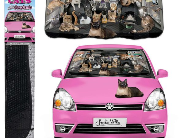 Car full of cats sunshade