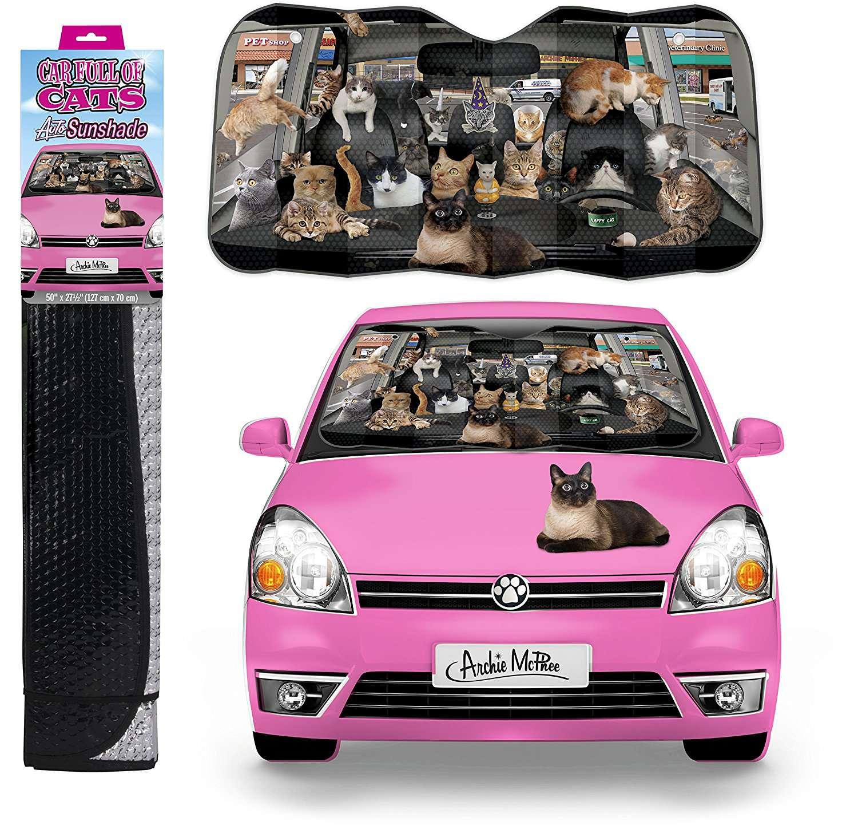 Car full of cats sunshade
