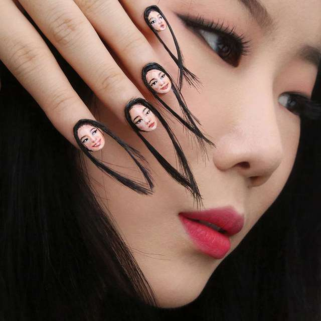 Dain Yoon Selfie Fingernails with Hair 1