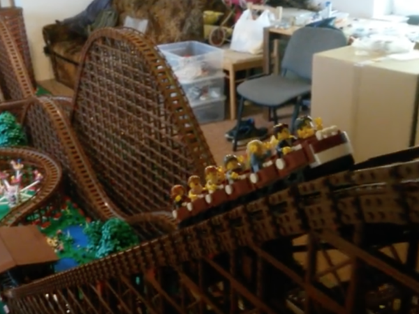 Wooden Lego Rollercoaster video