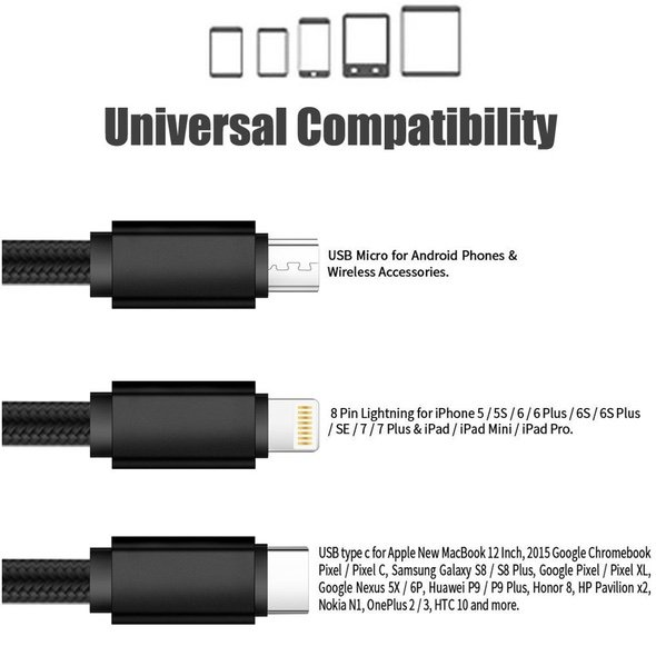 3-in-1 Lightning Micro USB USB Type C Charging Cable Universal