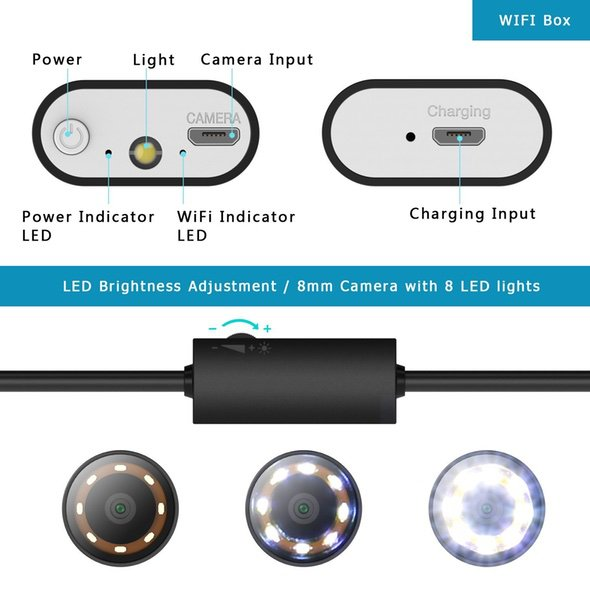 Wireless LED Endoscope Snake Light Camera 2