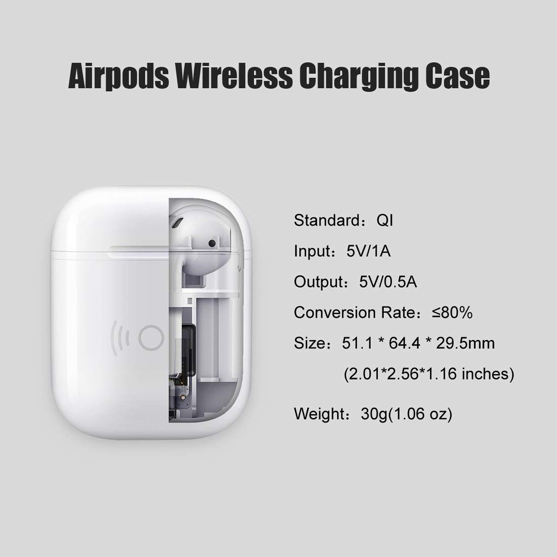 NeotrixQI Wireless Charging Case For Apple AirPods Cutaway