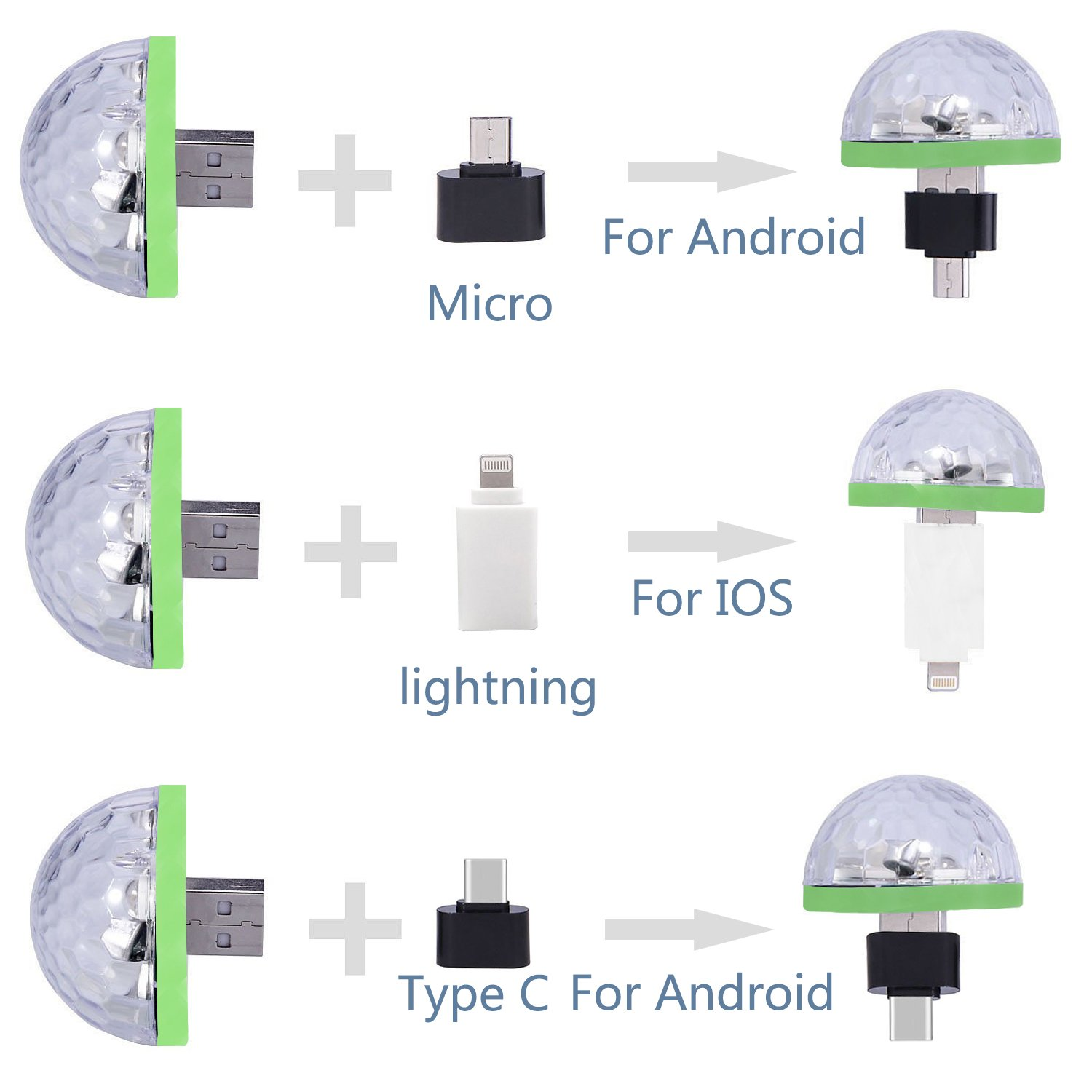 USB Lightning Micro USB USB-C Disco Ball 4