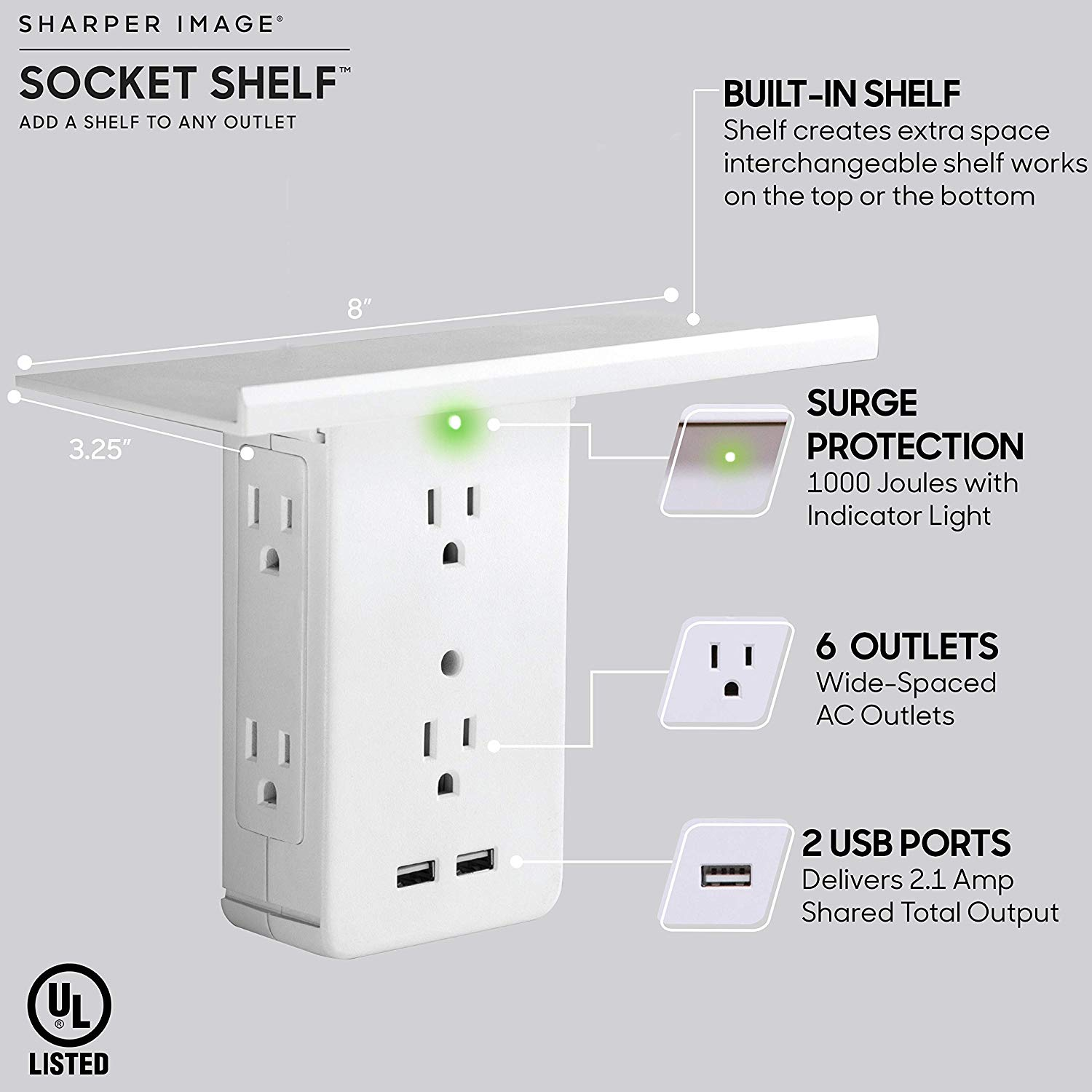 Socket Shelf 8-Port Wall Outlet USB Charger Features