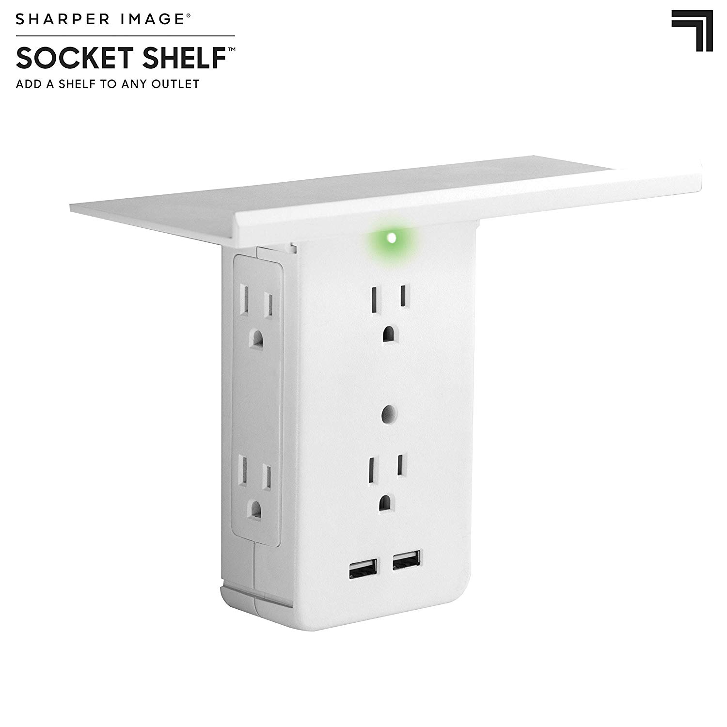 Socket Shelf 8-Port Wall Outlet USB Charger