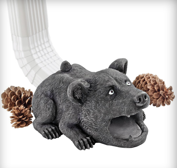Big Boss Bear Gutter Guardian Downspout Statue