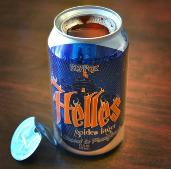 Sly Fox Helles Open Top Beer Can
