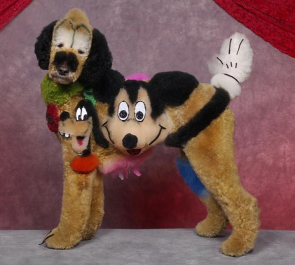 dog character shaving mickey mouse