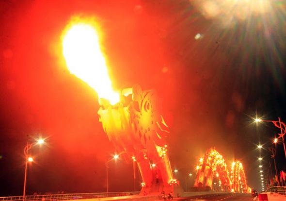 Han River Fire Dragon Bridge Night Time