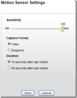 VueZone Motion Sensor Settings
