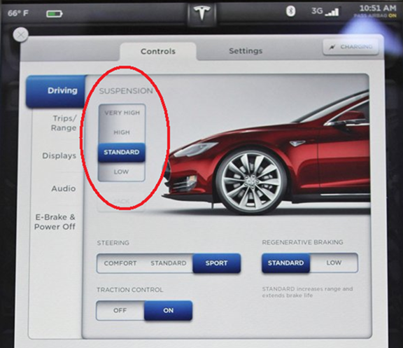 Tesla Model S Suspension Controls
