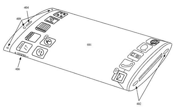 Apple Patent application picture for curved glass